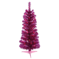 Vickerman 3' Fuchsia Pencil Artificial Christmas Tree - 50 Purple LED Lights