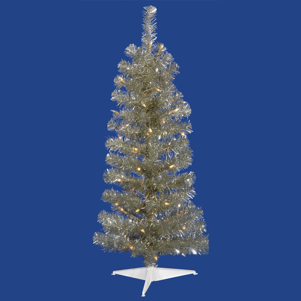 Vickerman 2' Champagne Pencil Artificial Christmas Tree 35 Warm White LED Lights