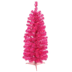 Vickerman 2' Pink Pencil Tree - 35 Pink Lights - 87 PVC Tips - Plastic Stand