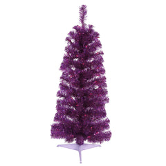 Vickerman 3' Purple Pencil Tree - 50 Purple Lights - Plastic Stand - 109 PVC Tip