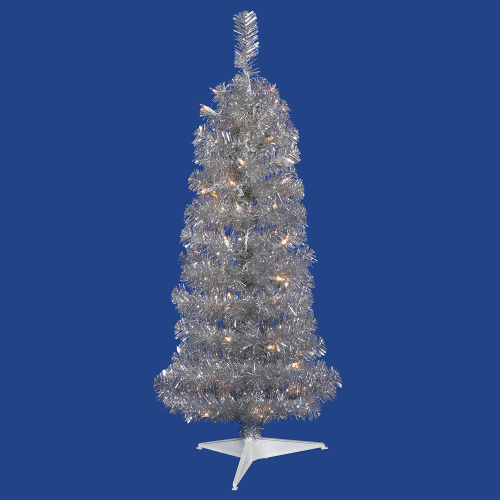 Vickerman 3' Silver Pencil Tree 50 Clear Lights - 109 PVC Tips - Plastic stand