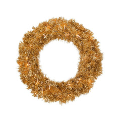 "30"" Antique Gold Wreath With 70 Warm White LED Lights"