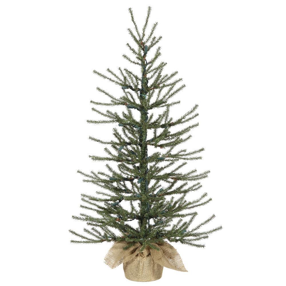 "Vickerman 24"" Unlit Angel Pine Artificial Christmas Tree - Burlap base"