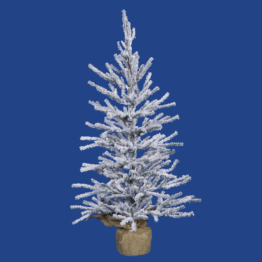 "Vickerman 36"" Unlit Frosted Angel Pine Artificial Christmas Tree - Burlap base"