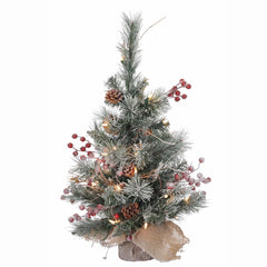 Vickerman 2' Snow Tip Pine and Berry Artificial Christmas Tree w/ Clear Lights