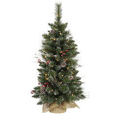 Vickerman 3' Snow Tip Pine and Berry Artificial Christmas Tree w/ Clear Lights