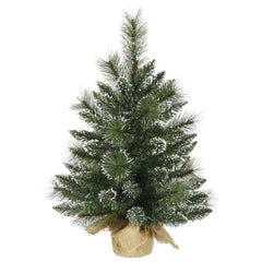 Vickerman 2' Unlit Snow Tipped Mixed Pine Artificial Christmas Tree Burlap Base