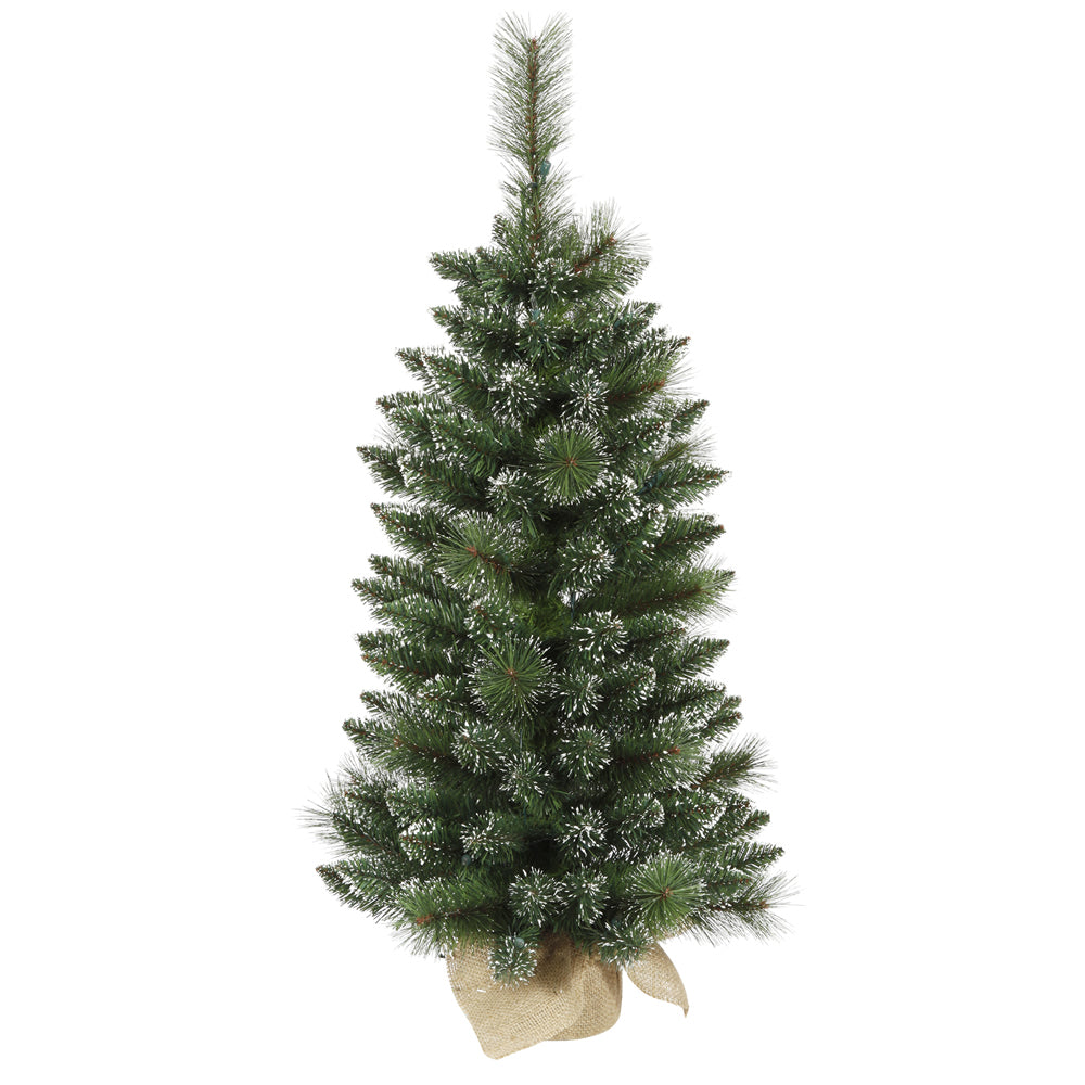 Vickerman 3' Unlit Snow Tipped Mixed Pine Artificial Christmas Tree Burlap Base