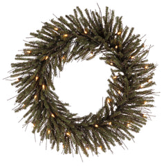 "24"" Vienna Twig Wreath - 35 Warm White LED Lights"