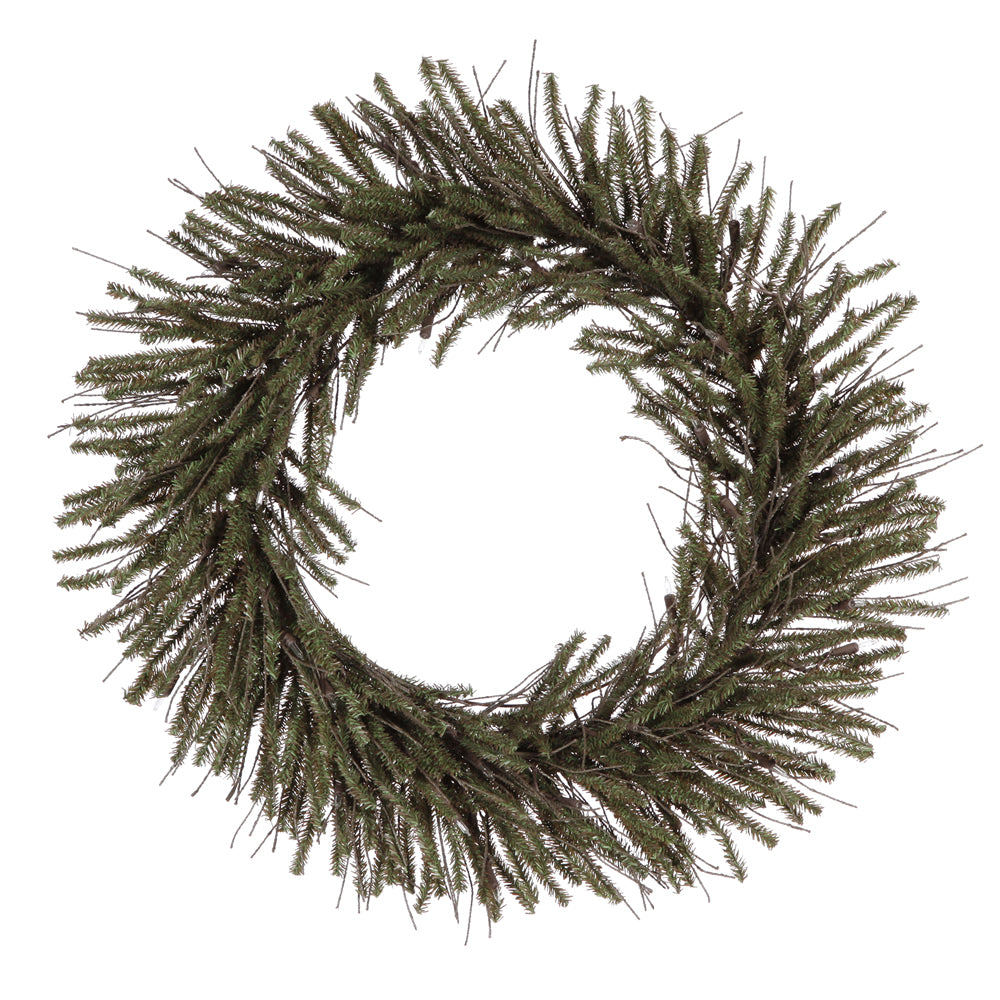 "24"" Unlit Vienna Twig Wreath  300 Tips"