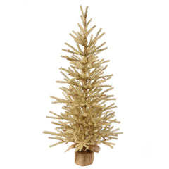 "Vickerman 24"" Unlit Champagne Artificial Christmas Tree- Burlap base"