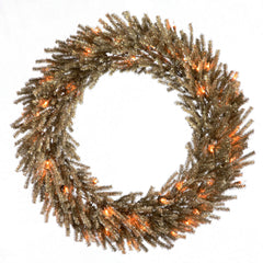 Vickerman 24in. Mocha 580 Tips Wreath 35 Clear Mini Lights