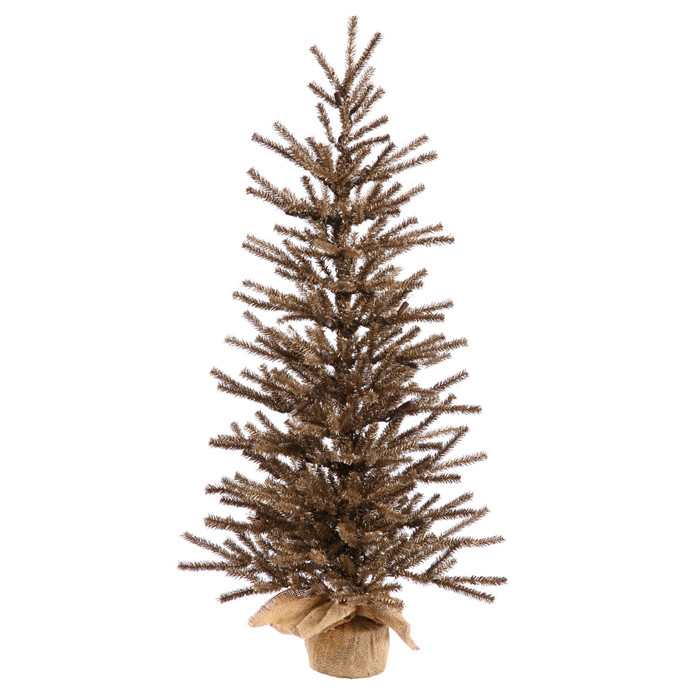 "Vickerman 24"" Unlit Chocolate Artificial Christmas Tree- Burlap base"