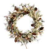"24"" Dakota Pine Wreath - Pine Cones and 35 Warm White LED Lights"