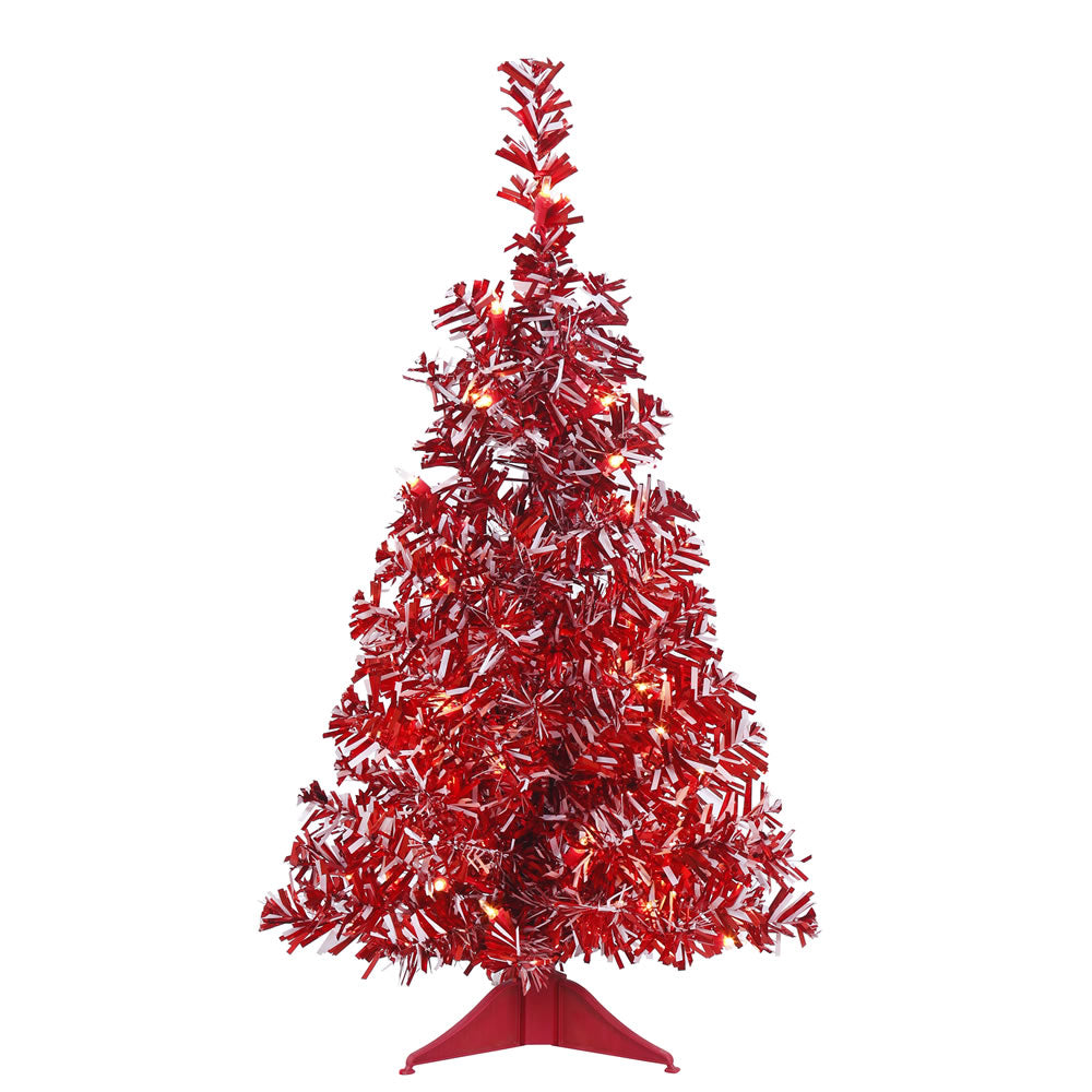24in. x14in. Red-White Candy Cane Tree 35 Clear Lights 73 Tips Red Plastic Stand