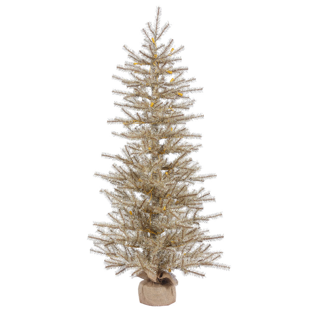 36in. x 23in. Mocha Tinsel Tree Burlap Base 385Tips