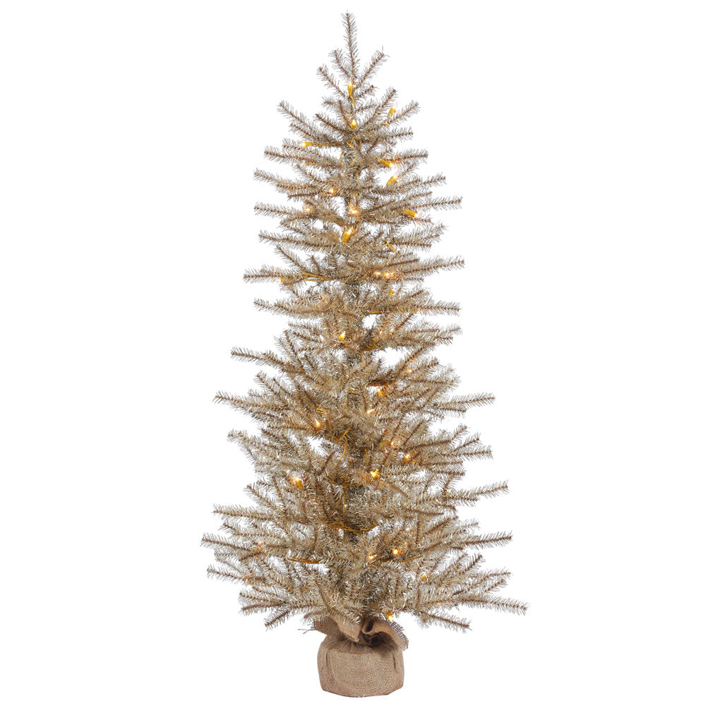 36in. x 23in. Mocha Tinsel Tree Burlap Base 50 Clear Lights