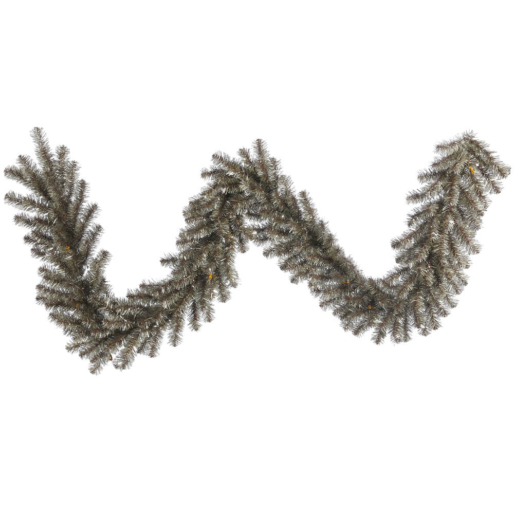 9Ft. x 14in. Mocha Tinsel Garland 50 Clear Lights 220Tips