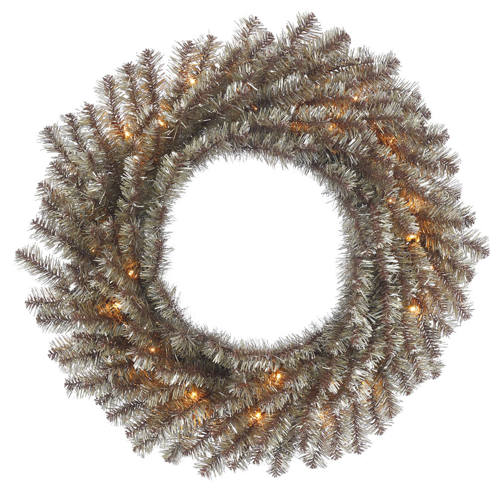 24in. Mocha Tinsel Wreath 130Tips