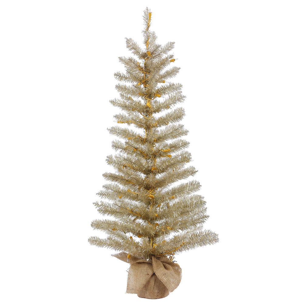 30in. x 14in. Champagne Tinsel Tree Burlap Base 106Tips