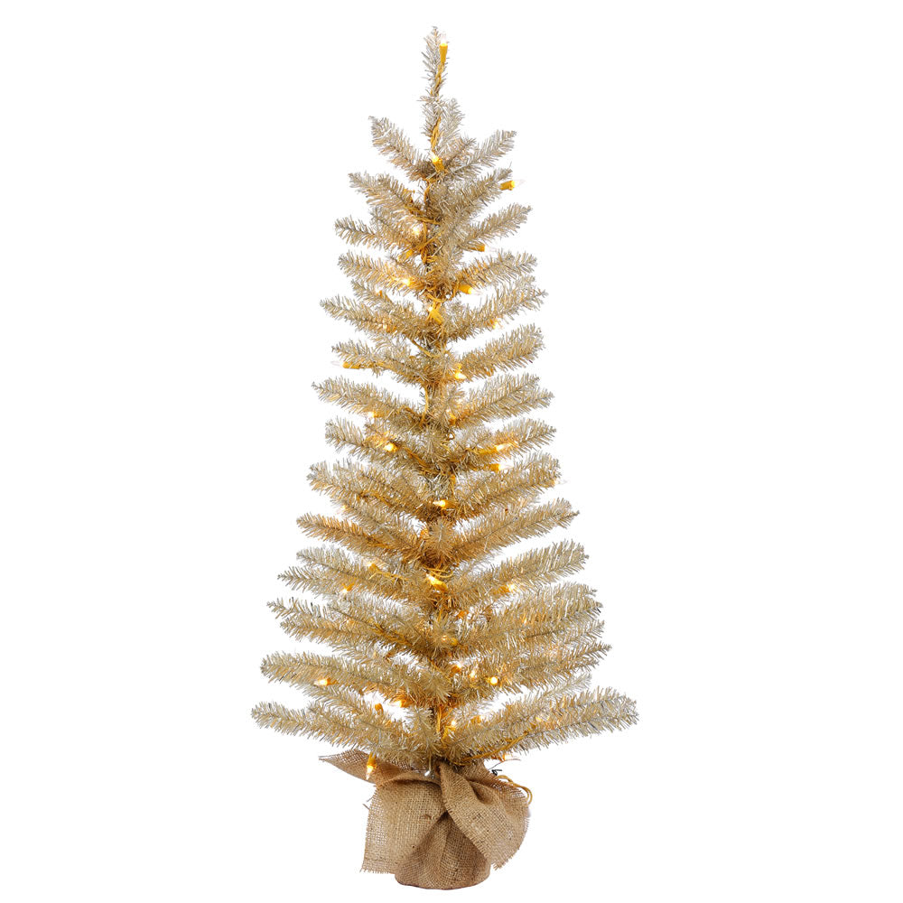 30in. x 14in. Champagne Tinsel Tree Burlap Base 50 Clear Lights 106Tips