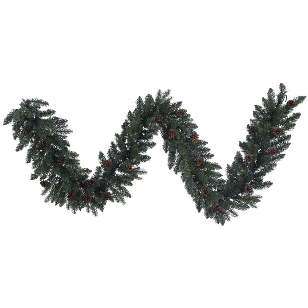 9Ft. x 14in. Aberdeen Spruce Garland 50 Clear Lights 200Tips