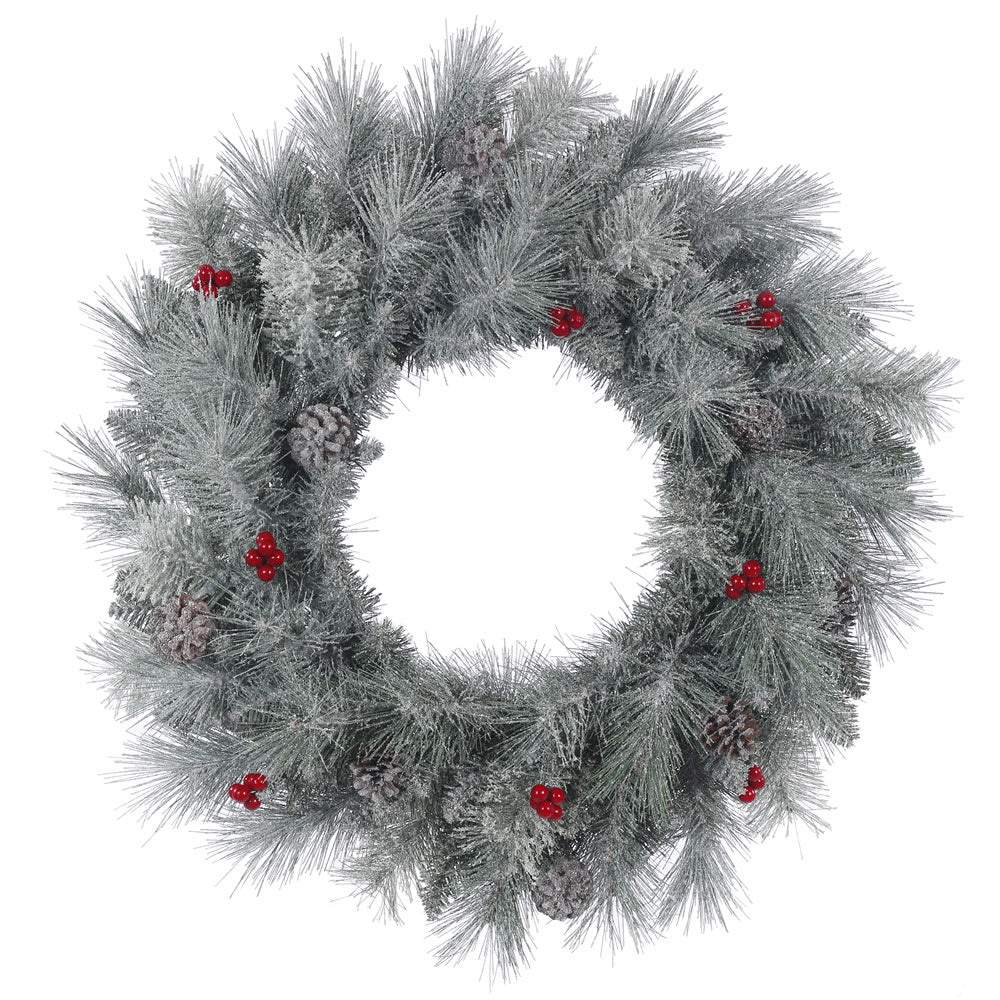 24in. Frosted Mix Berry Pine Wreath 100Tips