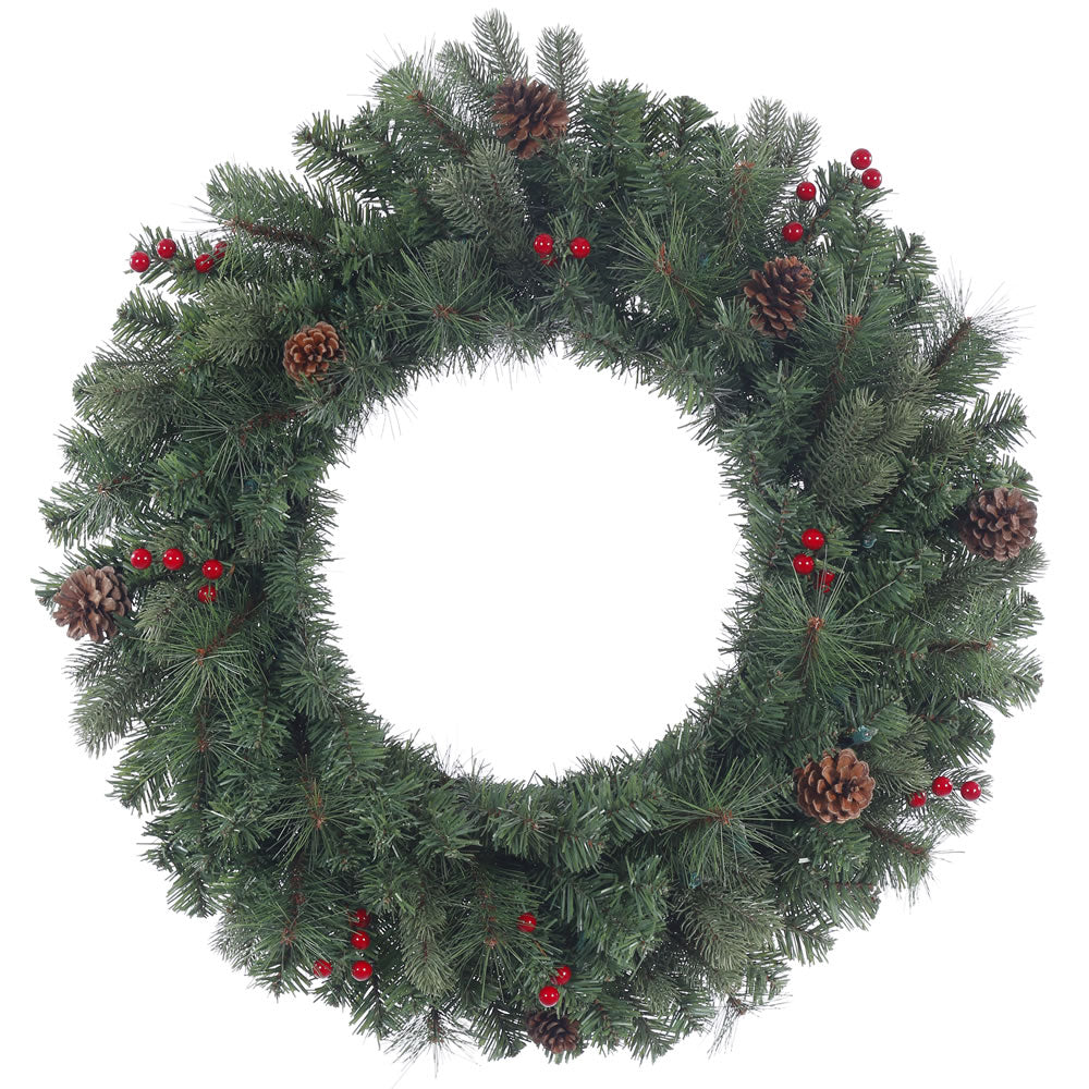 24in. Wesley Mixed Pine Wreath Pine Cones Red Berries 122Tips