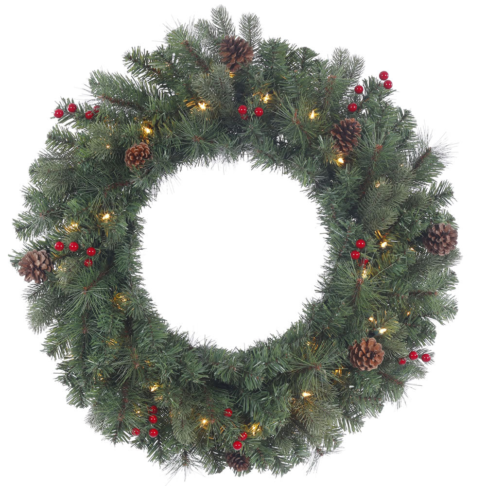 24in. Wesley Mixed Pine Wreath Pine Cones Red Berries 35 Clear Lights 122Tips