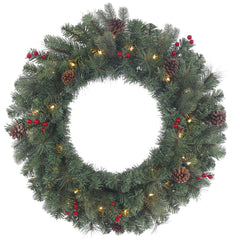 30in. Wesley Mixed Pine Wreath Pine Cones Red Berries 50 Clear Lights 165Tips