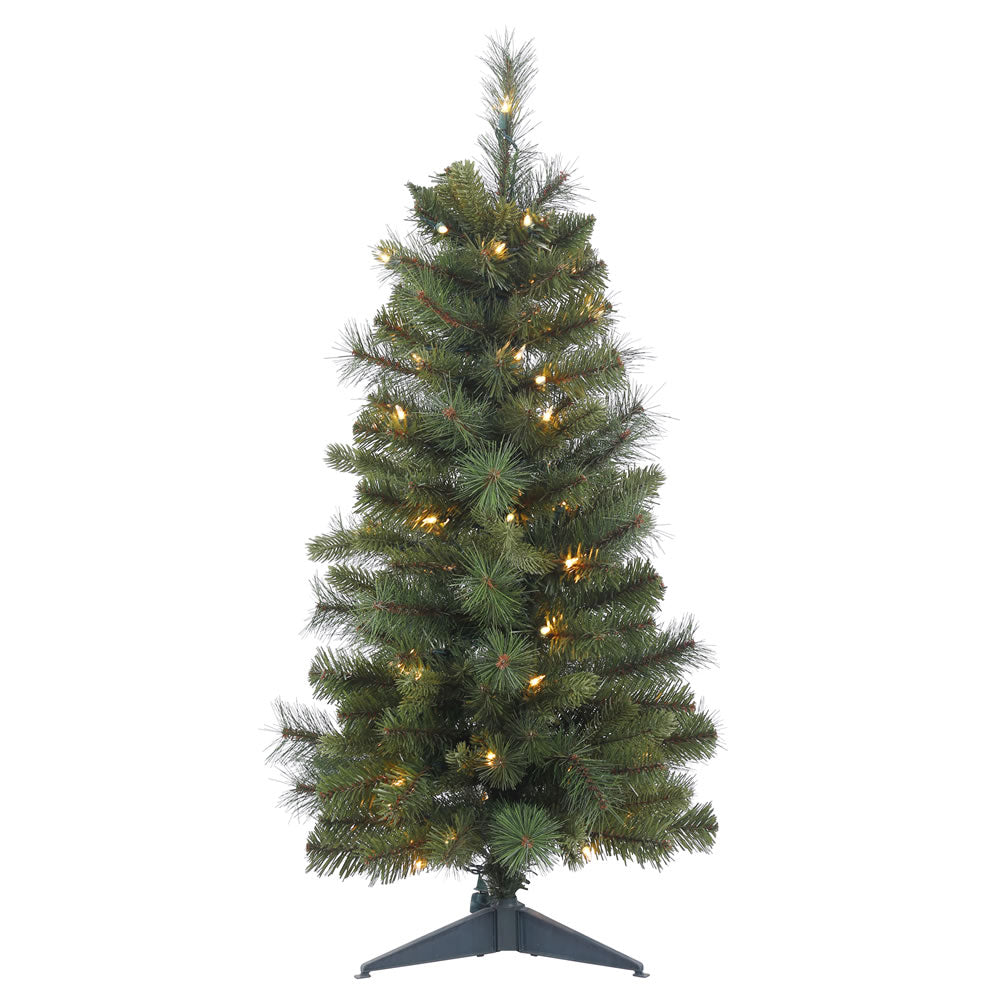 24in. x 16in. Classic Mixed Pine Tree 35 Clear Lights 64Tips Plastic Stand