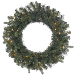 "24"" Classic Mixed Pine Wreath - 35 Warm White LED Lights"