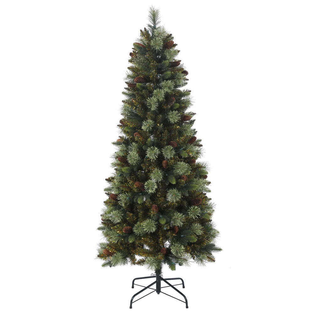6Ft. Reno Mixed Pine Tree 615 PVC/PE/Hardneedle Tips Pine Cones