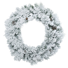"30"" Unlit Flocked Ashton Wreath - Real pine cones - 140 Tips"