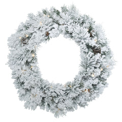 "30"" Flocked Ashton Wreath With Pine Cones and 50 Clear Lights"