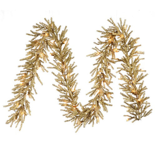 "9' x 10"" Champagne Garland - 50 Clear Lights"