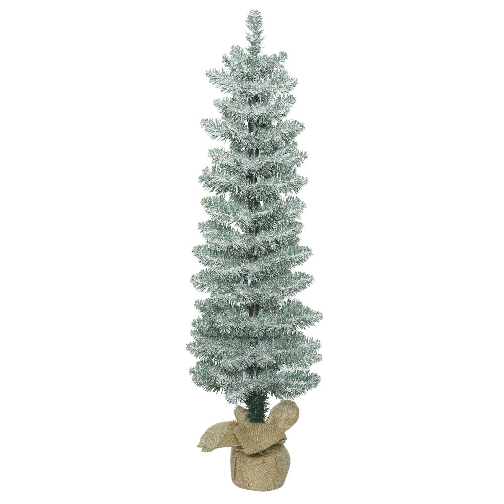 Vickerman 3' Unlit Frosted Pole Pine Artificial Christmas Tree - Burlap base