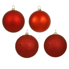 Vickerman 4 in. Red Ball 4-Finish Asst Christmas Ornament