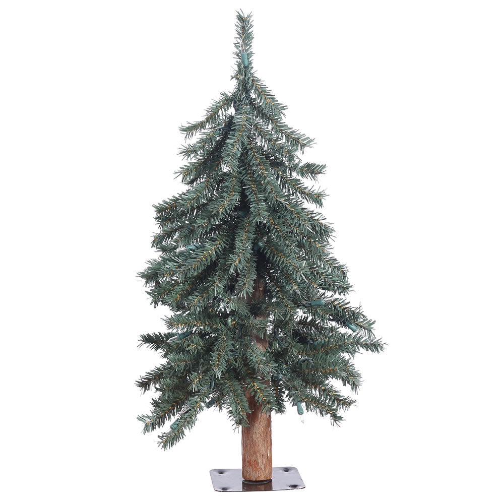 Vickerman 2' Unlit Natural Bark Alpine Artificial Christmas Tree - Metal Base