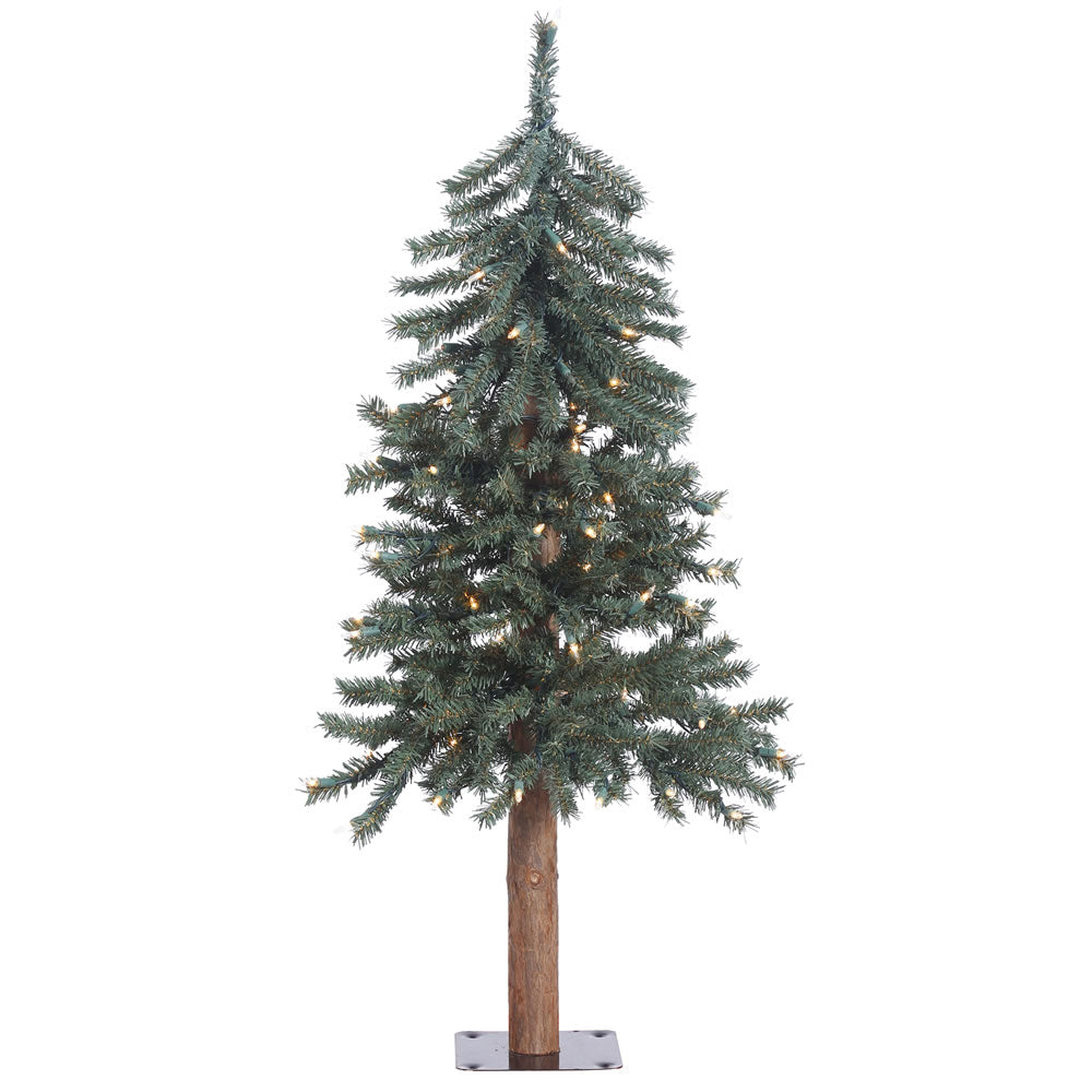 3Ft. Prelit Natural Bark Alpine Tree 191Tips 70 Clear Lights Metal Stand