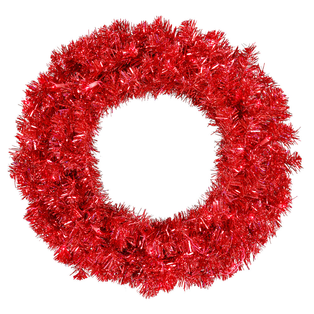 Vickerman 24in. Red 180 Tips Wreath 50 Red Mini Lights