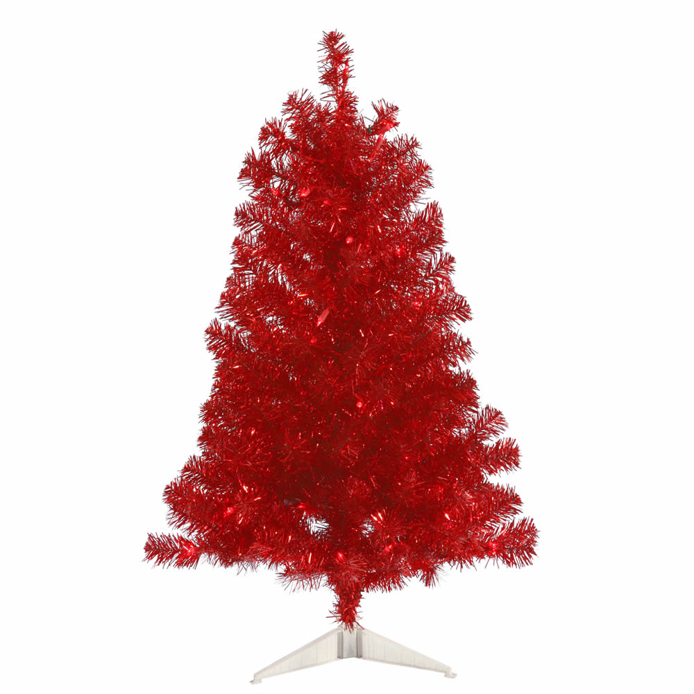 Vickerman 3' Red Artificial Christmas Tree - 50 Red Lights 105 Tip Plastic stand