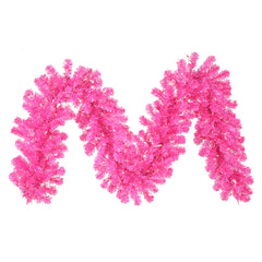 "9' x 12"" Hot Pink Garland - 70 Pink LED Lights"