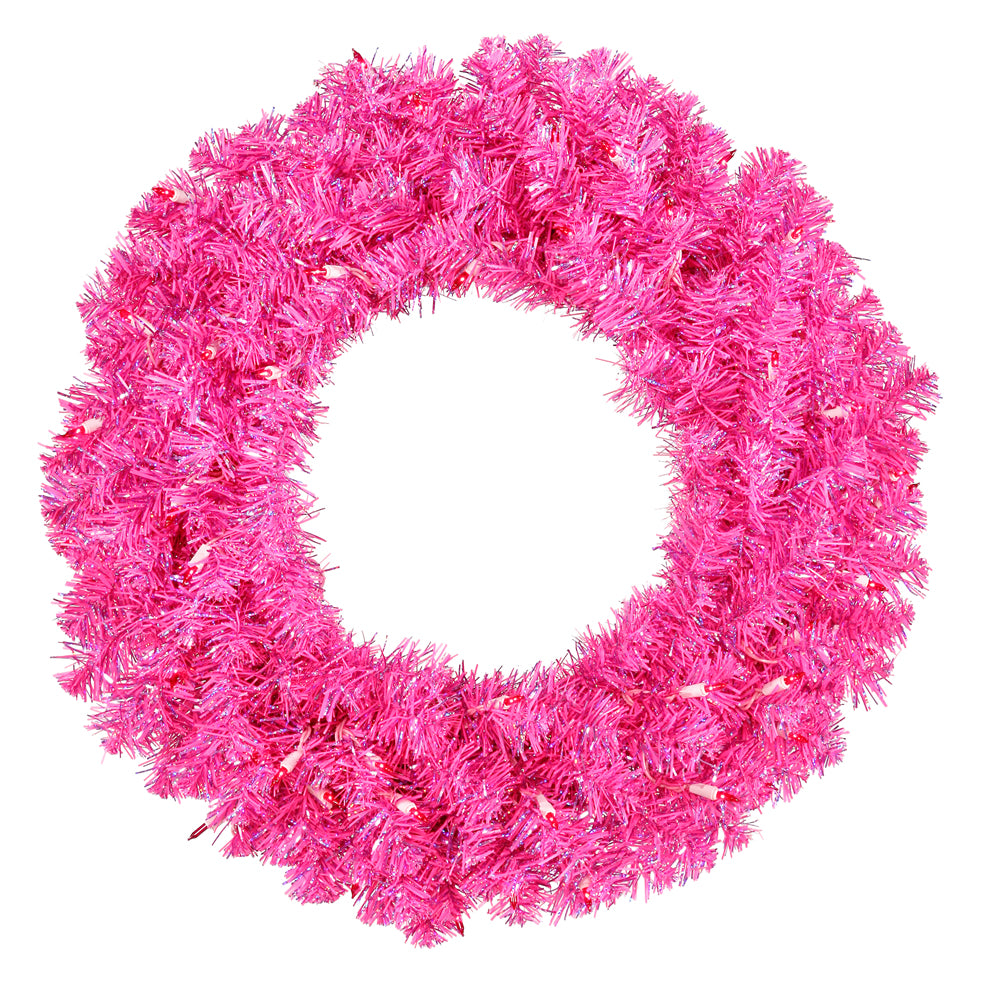 Vickerman 24in. Hot Pink 180 Tips Wreath 50 Pink Mini Lights