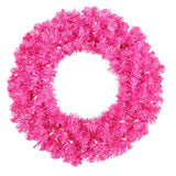 Vickerman 30in. Hot Pink 260 Tips Wreath 70 Pink Mini Lights - BulbAmerica