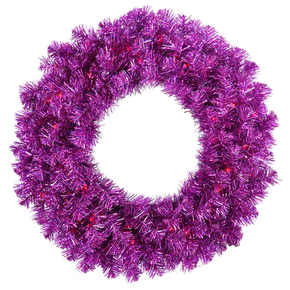 Vickerman 36in. Purple 320 Tips Wreath 100 Purple Mini Lights