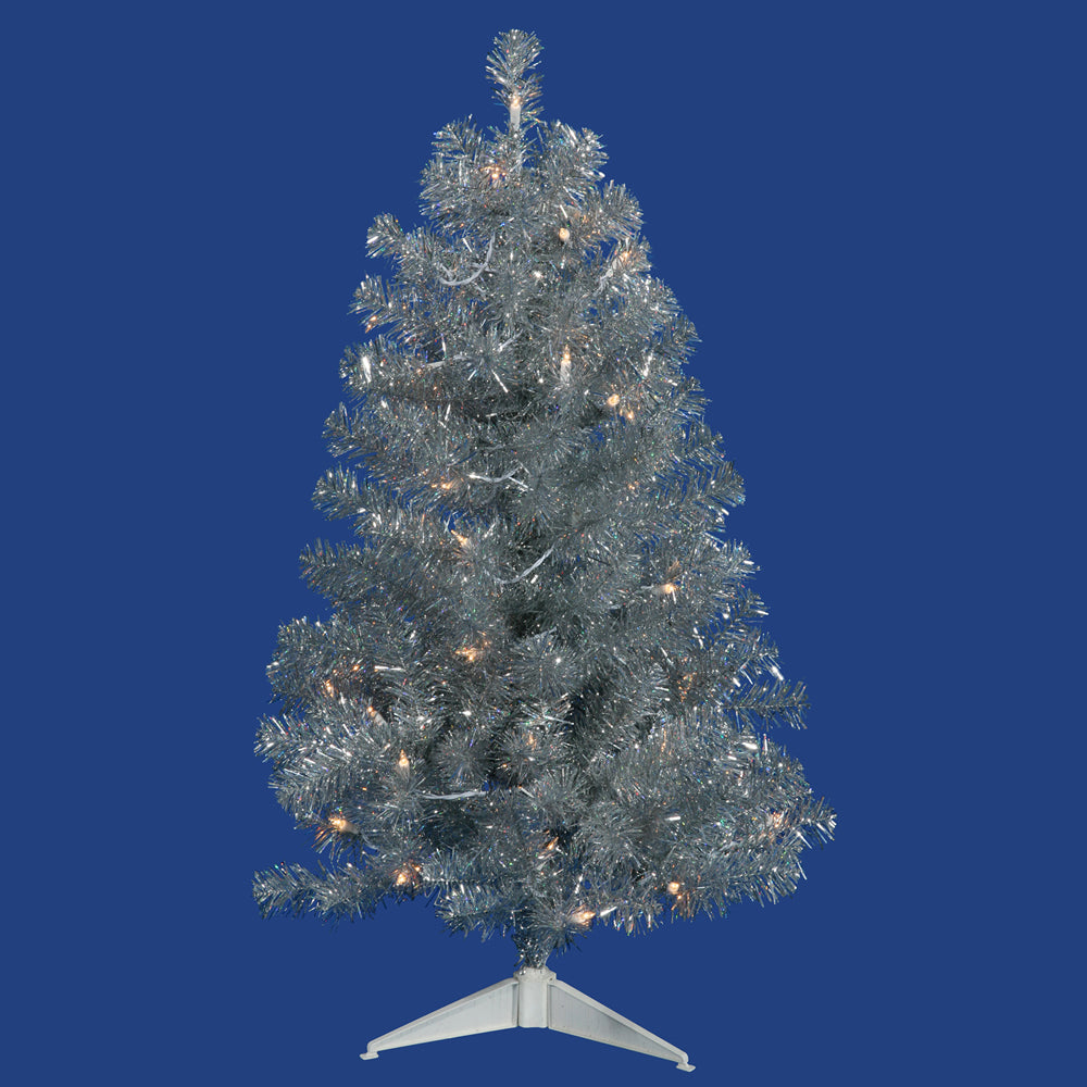 Vickerman 5Ft. Silver 675 Tips Christmas Tree 200 Clear Mini Lights