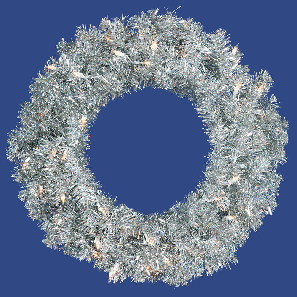 "30"" Silver Wreath - 70 Warm White LED Lights - 260 Tips"