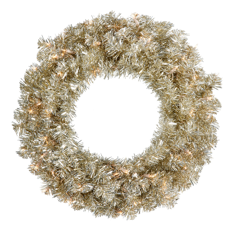 Vickerman 24in. Champagne 180 Tips Wreath 50 Clear Mini Lights