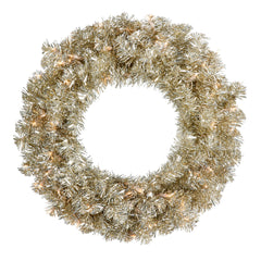 "24"" Champagne Wreath - 50 Clear Lights - 180 Tips"
